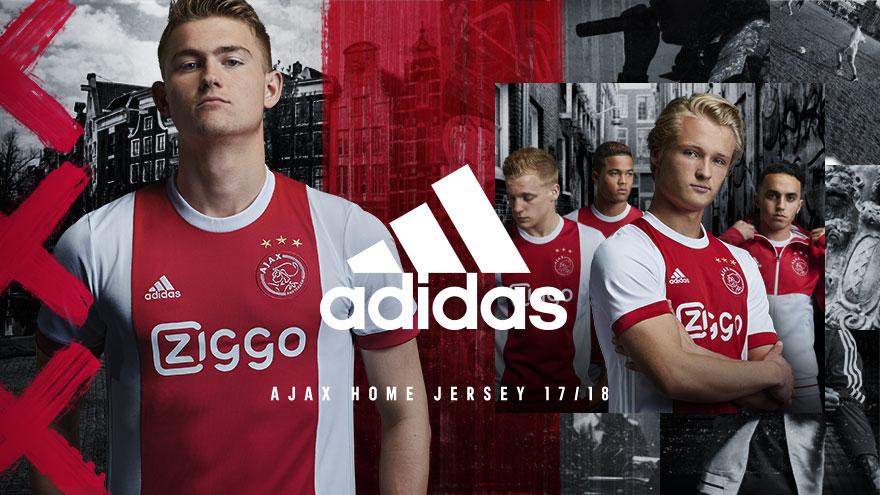 Officiële bedrukking Ajax thuisshirt 2017 2018