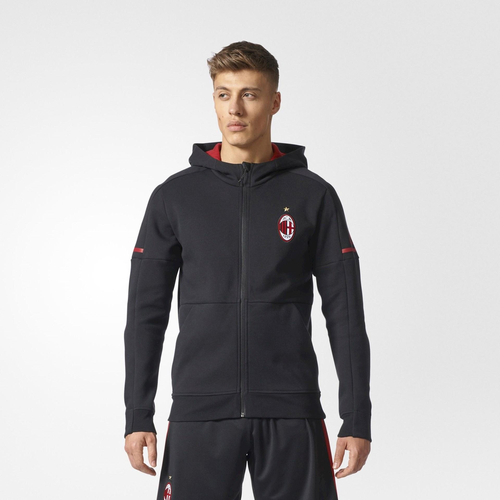 Zwart AC Milan jack met capuchon voor 2017-2018 ...