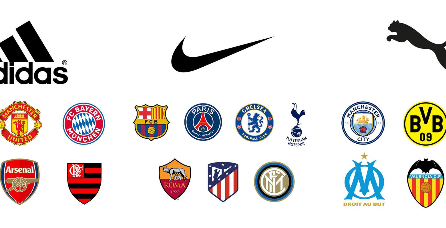Het portfolio topclubs van adidas, Nike en Puma va